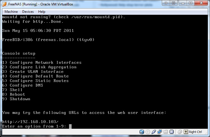 FreeNAS 8 running on Virtualbox