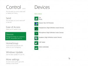 The new control panel in WIndows 8.