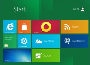The new look of the start menu in Windows 8.