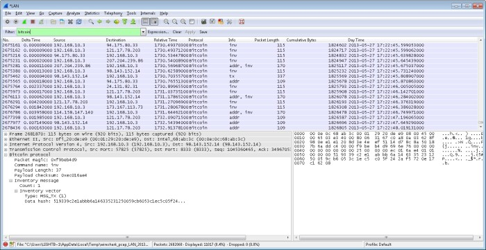 Wireshark Bitcoin Decoder