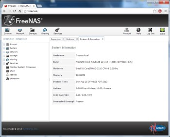 FreeNAS 8 Web Gui