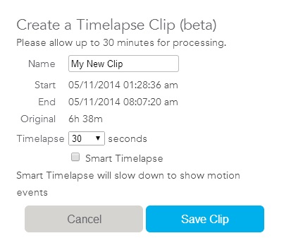 Dropcam Create Time Lapse