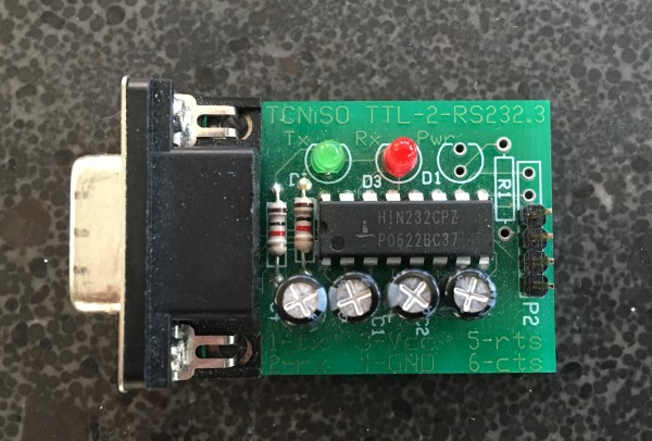 RS-232 to TTL adapter created by TCNISO