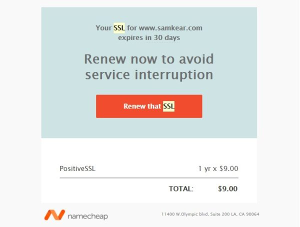 Namecheap SSL Renewal